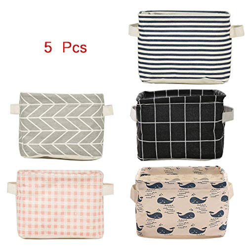 Knife Bucket (5 Pcs Foldable Storage Bin Basket,Foldable Fabric Storage Receive Basket with Handle Cotton Linen Blend Storage Bins for Makeup, Book, Baby Toy,8x6x5.5 inch)