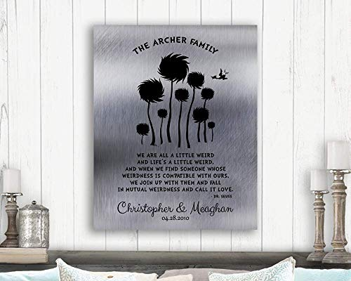 10 Year Anniversary Gift Dr. Seuss Personalized Truffula Trees We Are All A Little Weird Quote Custom Print 1469 Paper - Tin Dr Seuss
