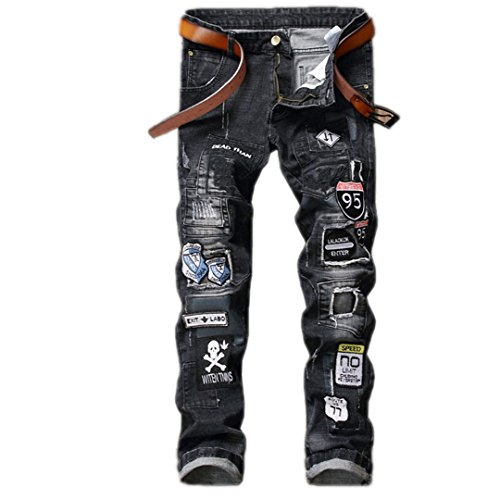 Print Badge Biker Camouflage Mens Jeans Pants Brand Ripped Homme Slim Straight Man Denim Casual Cargo Trousers Hombre Pantalones 805 34 Homme Denim Pants