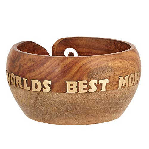 Mother's Day Special Wooden Yarn Bowl for Knitting and Crochet, Large Size 6'' X 3'' Durable and Portable Yarn Storage for Knitters- Beautiful Gift for Mom, Grandmother by Eximious India (Image #3)