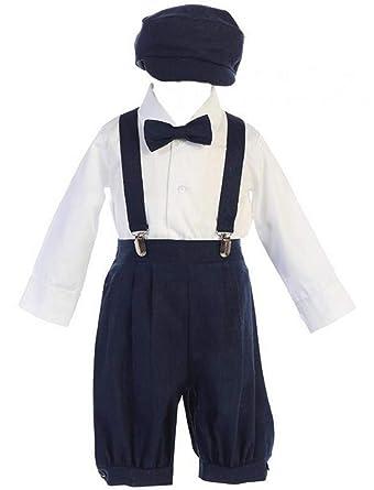 9d8c02061 Amazon.com  Lito Baby Boys Navy Suspender Knickers Hat Shirt Bow 5 ...