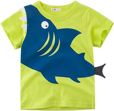 Innerternet-Camiseta de niño, Bebes Niños Camiseta de Manga Corta de Estampado de Tiburones de Dibujos Animados de Europa y América(Verde/Amarillo): Amazon.es: Ropa y accesorios
