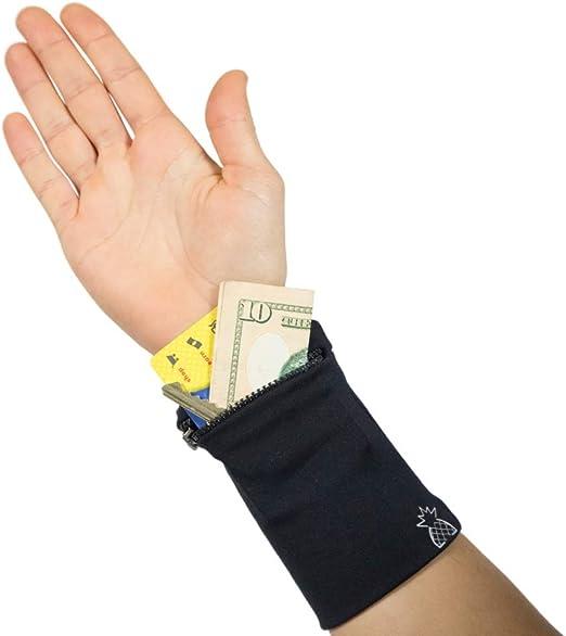 Wristband Sweatband Sweat Band Zip Wallet for Sport Tennis Gym Yoga Travel