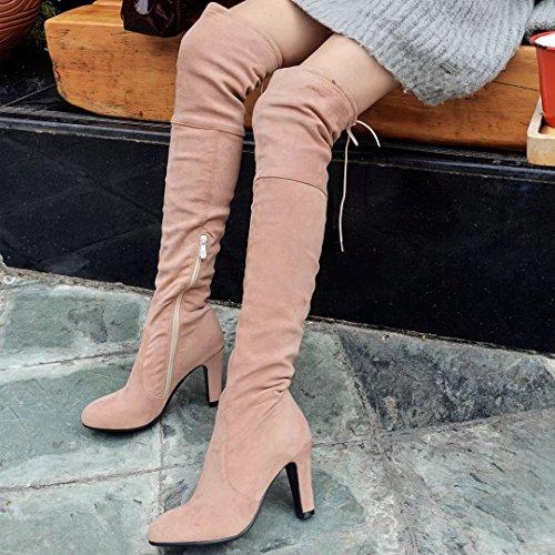 40924ba78a5599 AIYOUMEI Damen Stretch Over Knee Stiefel mit 8cm Absatz High Heels Winter  Warm Langschaft Stiefel Schuhe