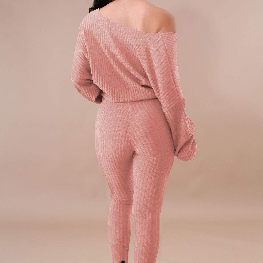 waitFOR Tracksuit for Women Ladies 2PCS Solid Off Shoulder Sport Blouse+Long Sleeve Crop Tops Loungewear Sportswear,Outfit Sport Set Sports Trouser Pants Shorts T Thirt Blouse Tight Suit Sweatpants