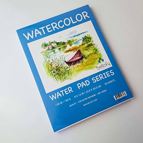 Bellofy 50 Sheet Watercolor Paper Pad - 130 IB/190 GSM Weight - 9x12 in Size - Cold Press Paper - Water Painting Art Notebook Pad by Bellofy