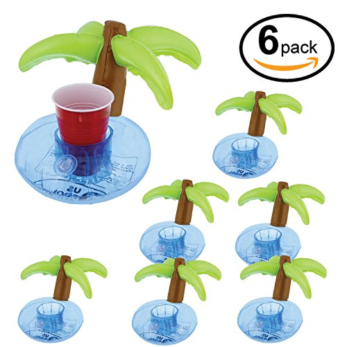 U.S. Pool Supply Inflatable Floating Coconut Palm Tree Drink Holder Set (6 Pack) - Float Beverage Cans, Cups & Bottles - Fun Kid & Adult Pool Party (Pool Party Accessories)