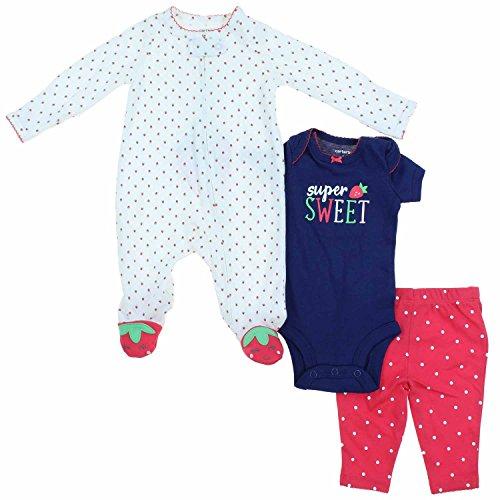 Carter's Super Sweet Strawberry Baby Girl 3 Piece Clothing Set (Newborn)