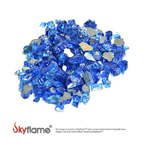 Skyflame High Luster 10-Pound Fire Glass for Fire Pit Fireplace Landscaping, 1/2-Inch Cobalt Blue Reflective (Pit Fire Outdoor Rocks With Propane Glass)