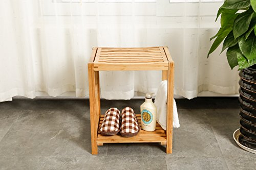 Natural Bamboo Shower Bench Seat, Shaving Stool ...