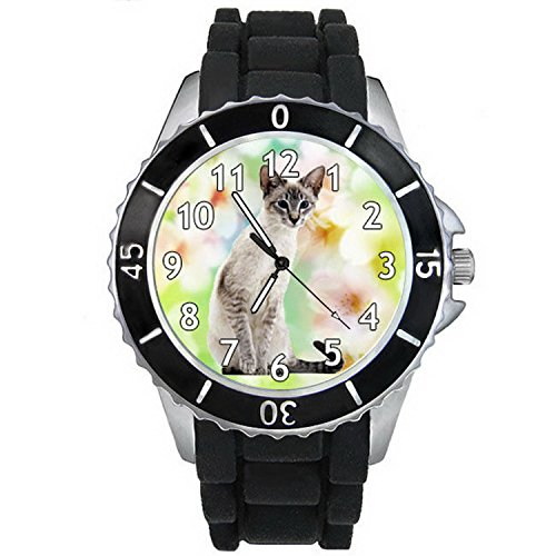 BMSC883 Siamese Cat Mens Ladies Unisex Black Jelly Silicone Quartz Wrist Watch
