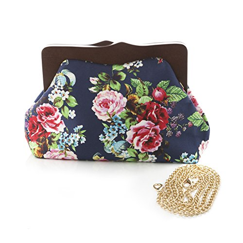 Blue Rose Bouquet Clutch Bag - Vintage Inspired Purse - hearts & Roses at Hey - Clutch Vintage Print