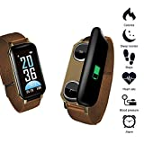 T89 Smart Watch Binaural 5.0 Headphone,Businda TWS Bracelet Fitness Heart Rate Monitor Bracelet Sleep Monitor Steps Blood Pressure with Micro USB Charger for Multiple Languages(Gold)