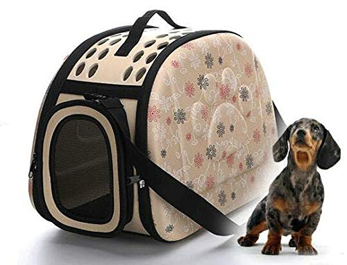 Pnizun Pet Bag Portable Cat Pack Collapsible Pet Outpack Dog Supplies Pet Outpack Backpack [M Apricot ]