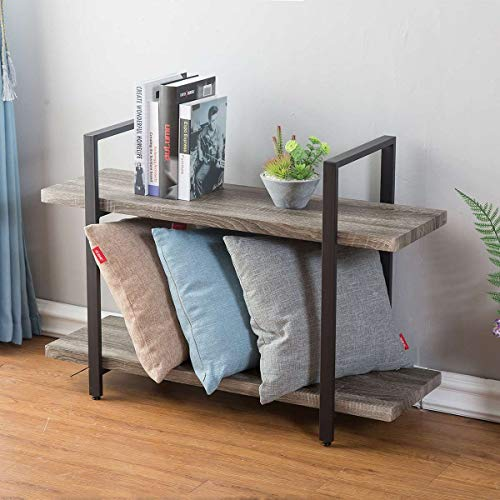 HSH Furniture 2-Shelf Bookcase, Industrial Wood Display and Storage Bookshelf, Dark ()