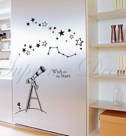 Custom popdecals - Wish pour les étoiles - Belle Arbre Stickers Muraux pour Chambre d