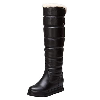 eecdb697ce4 Winter Women s Warm Knee High Down Snow Boots Waterproof Thick-Soled Flat Heels  Thigh High