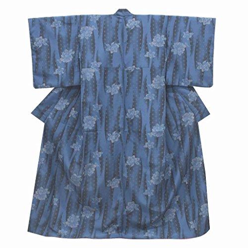 最初傾いた五(着物ひととき) リサイクル 小紋 中古 化繊 洗える こもん 花文様 裄66cm 青系 裄Mサイズ 身丈Lサイズ ll1656b