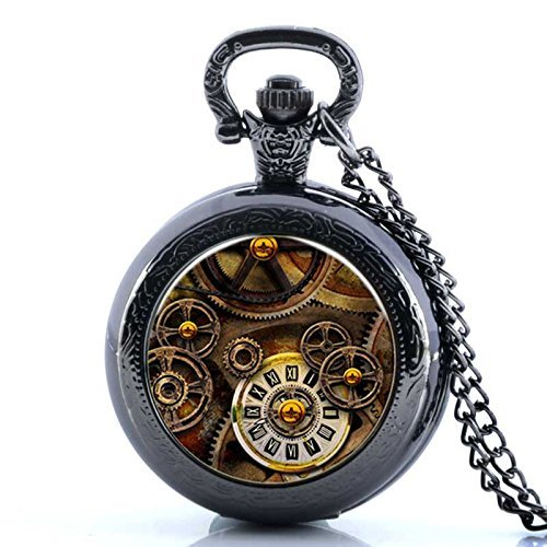 Vintage Clock Gear Skeleton Pocket Watch-Black Plated Pendant Necklace-Wearable Art Pocket Watch-Handmade Necklace Jewelry For Women Men Kids - Vintage Buttons Glass Black
