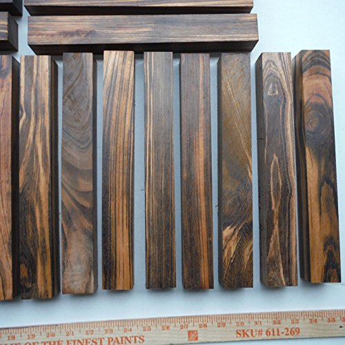 30 incredibly figured, black striped TIGERWOOD goncalo alves 18'' x 1.25'' x 1.25'' by Diamond Tropical Hardwoods