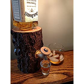 Liquor Dispenser, The Real Wood Log Liquor Dispens...
