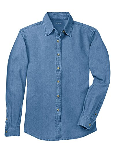 Blouse Denim Shirt - Joe's USA(tm Ladies Long Sleeve Value Denim Shirts in Sizes XS-4XL Faded Blue