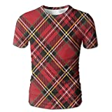 Edgar John Diagonal Traditional Vintage Scottish Tartan Pattern Striped Men's Short Sleeve Tshirt M
