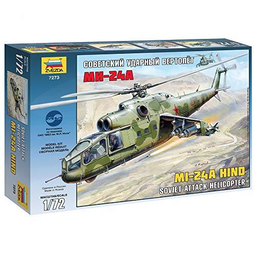 Zvezda 7273 - Soviet Attack Helicopter MI-24A - Plastic Model Kit Scale 1/72 Lenght 11,75