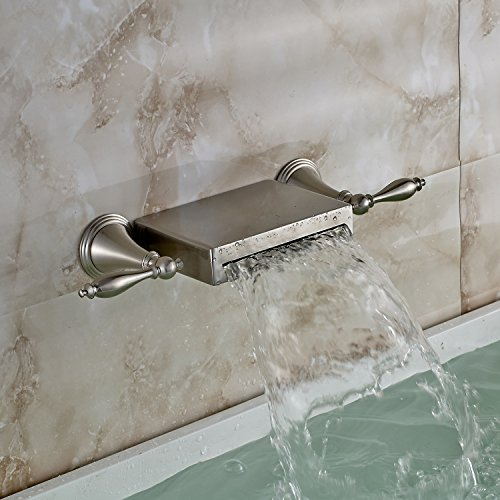 Brushed Nickel Wall Mount Waterfall Bathtub Faucet