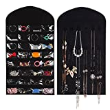 Jewelry Organizer Hanging Bag 32 Pockets & 18 Hook-and-loop Tabs Earrings Necklace Bracelet Holder Dual Sided Space-Saving Household Closet Accessory Storage Bag with Hanger