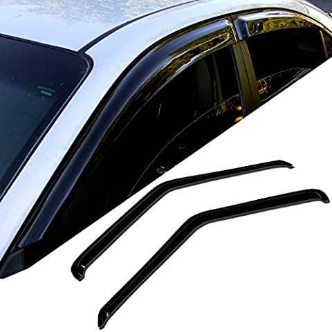 TuningPros WD-060 Tinted Smoke Out-Channel Window Visor Deflector Rain Guard 2-pc Set - 1997 Z28 Camaro