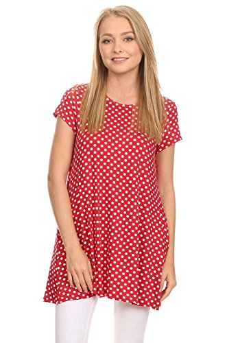 Pants Dot Print Top - Private Label Women's Cute Dot Short Sleeve Tunic Top Made In USA (X-Large, Red)