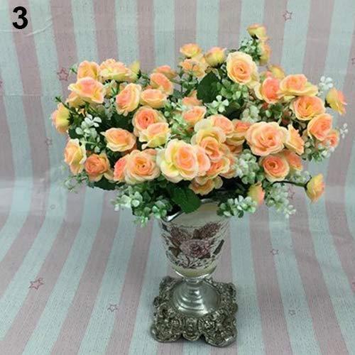 litymitzromq Artificial Flowers Fake Plants, 1 Bouquet 5 Branches 15 Pcs Artificial Rose Wedding Home Decor Faux Silk Flower Faux Fake Flowers Floral Arrangement