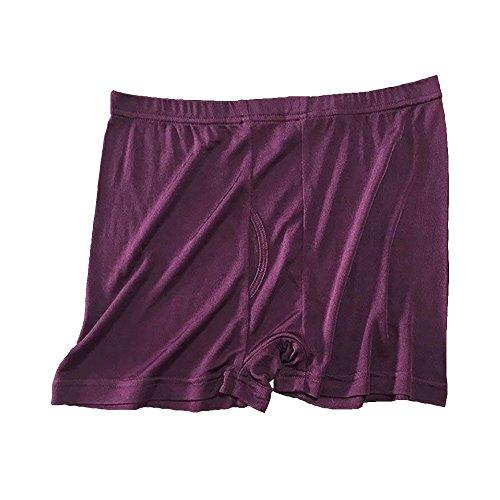 Men Pure Silk Boxer Knit Brief Underpants Trunks Shorts Underwear Burgundy