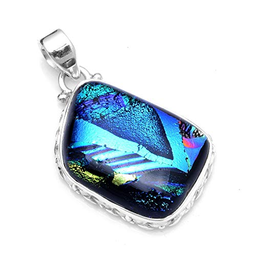 Silver Palace Sterling Silver Handmade Dichroic Glass Pendant for Women and Girls