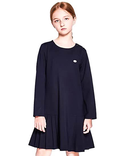 4be9f7c6409 SOLOCOTE Kids Girls School Uniform Jumper Dress Pleated Peter Pan Sundress  3-12Y
