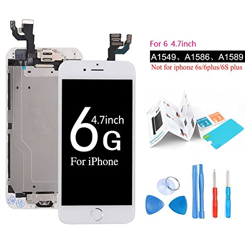 ibaye Screen Replacement Compatible iPhone 6 LCD Display Touch Digitizer Glass Lens with Camera and Home Button Assembly Repair (4.7) inch with Tools White