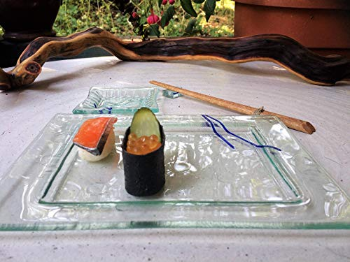 Recycled Glass Sushi Dining Set- Set of 2, sushi and sauce dishes w/chopstick rest