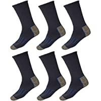 6 Pairs Holeproof Explorer Impact Cotton Blend Mens Hiking Work Socks 6 10 11 14