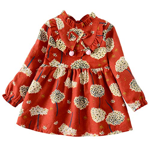 ModnToga Kid Baby Girls Ruffled Collar Long Sleeve Princess Party Wedding Flower Dresses (Red, XXL (4-5Years))