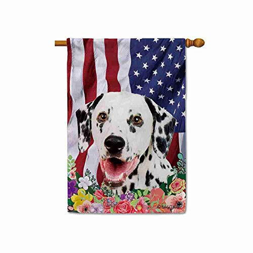 BAGEYOU American Flag with My Love Dog Dalmatian 4th of July Patriotic Decoraive House Flag for Outside Colorful Flowers Summer Home Decor Banner 28x40 Inch Printed Double Sided (Queensland Furniture Outdoor)