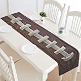 InterestPrint American Football Lace Polyester Table Runner Placemat 16 x 72 inch, Vintage Grunge Retro Tablecloth for Office Kitchen Dining Wedding Party HomeDecor