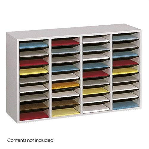Safco Products Wood Adjustable Literature Organizer, 36 Compartment 9424GR, Gray, Durable Construction, Removable Shelves, Stackable (Black Wood Letters For Shelf)