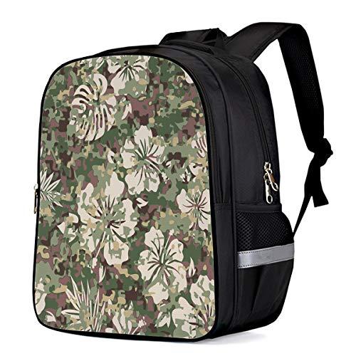 Backpack for Children/Boys/Girls Green Camouflage Floral Print 3D Printing Shool Book Bag Daypacks Satchel Rucksack Hiking Travel Shoulders Bag Fits Laptop- Small