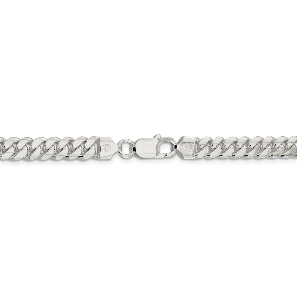 7.25 mm 925 Sterling Silver Classic Domed Curb Chain Bracelet - 8 Inch