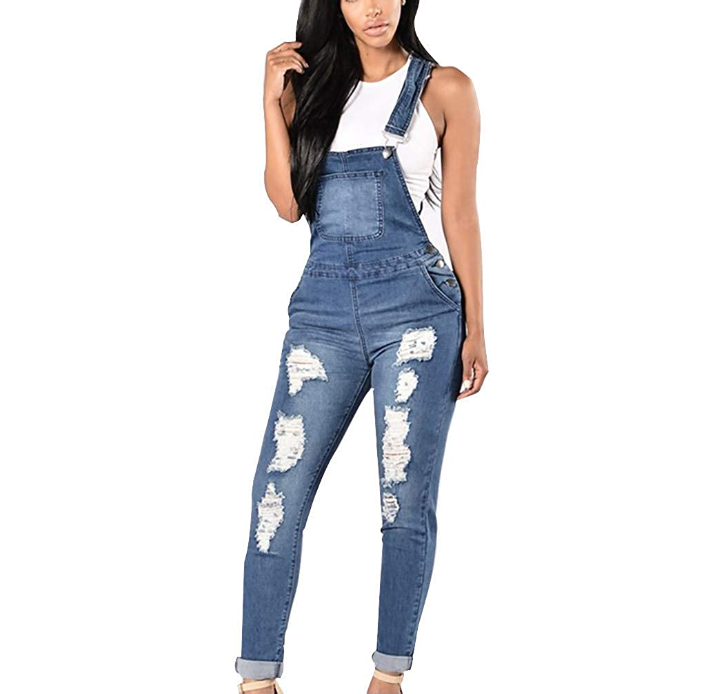 Womens Skinny Overall Jeans Ripped Destroyed Ankle Length Denim Overalls Stretch Romper Jumpsuit Morecome