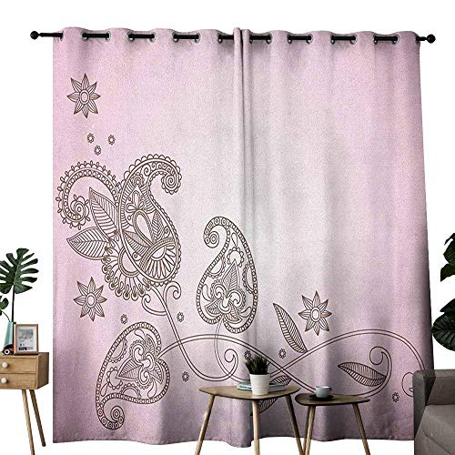 duommhome Henna Simple Curtain Oriental Patterned Leaf Motifs Classical Paisley Motif with Eastern Art Influences 70%-80% Light Shading, 2 Panels,W120 x L84 Pink Umber