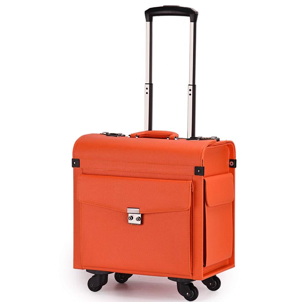 FRF トロリーケース- 学生ミニレトロトロリーケース、男性と女性のためのユニバーサルホイール搭乗パスワードボックス (色 : オレンジ, サイズ さいず : 16in) 16in オレンジ B07R21SM28