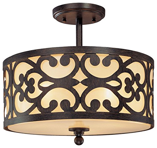 Minka Lavery Semi Flush Mount Ceiling Light 1498-357, Nanti Round Glass Lighting Fixture, 3 Light, 180 Watts, Iron