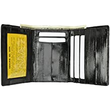 Mens EEL Skin Leather Trifold Id Style Credit Card Holder Black Wallet Id outside